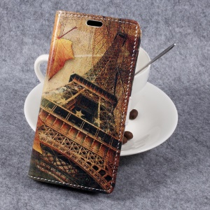 Pattern Printing Wallet Leather Stand Case para Samsung Galaxy Xcover 4 - Folhas de maple e torre Eiffel