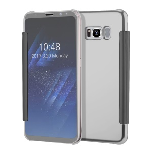 Plated Mirror Surface Smart View Leather Mobile Case for Samsung Galaxy S8 G950 - Silver