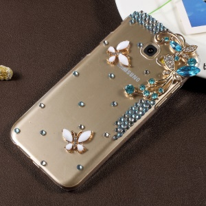3D Rhinestone PC Protective Cell Phone Case for Samsung Galaxy A7 (2017) SM-A720F - Blue