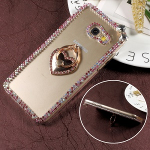 Rhinestone Decorated Ring Holder Clear Plastic Case for Samsung Galaxy A7 (2017) - Heart Shape
