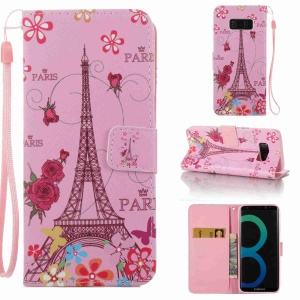Pattern Printing Leather Wallet Case Cover for Samsung Galaxy S8 SM-G950 - Eiffel Tower and Flowers