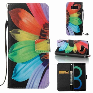 Pattern Printing Leather Wallet Cover Case for Samsung Galaxy S8 SM-G950 - Colorful Petals