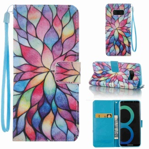 Pattern Printing PU Leather Wallet Case for Samsung Galaxy S8 SM-G950 - Vivid Flowers