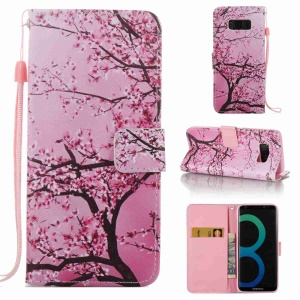 Pattern Printing Wallet Leather Mobile Phone Case for Samsung Galaxy S8 SM-G950 - Plum Blossom