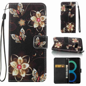 Pattern Printing Magnetic Leather Stand Case for Samsung Galaxy S8 SM-G950 - Butterflies and Flowers