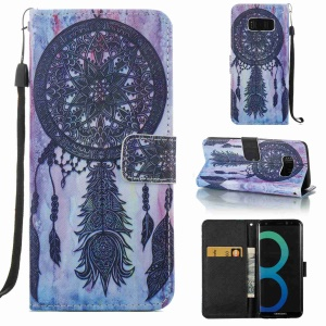 Pattern Printing Phone Leather Wallet Case for Samsung Galaxy S8 SM-G950 - Dream Catcher