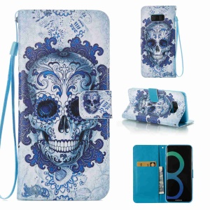 Patterned Leather Wallet Smartphone Cover with Lanyard for Samsung Galaxy S8 Plus G955 - Skulls