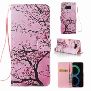 Pattern Printing Leather Wallet Folio Cover with Hand Strap for Samsung Galaxy S8 Plus G955 - Flower Tree
