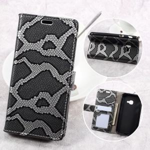 Smooth Snake Texture Stand Leather Wallet Phone Cover for Samsung Galaxy Xcover 4 G390F - Grey