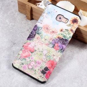 Embossed Pattern Soft TPU Back Phone Case for Samsung Galaxy C9 Pro - Animals and Colorful Flowers