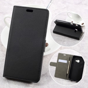 PU Leather Wallet Cell Phone Case for Samsung Galaxy Xcover 4 SM-G390F - Black