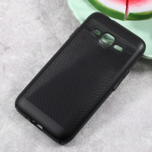 Hollow Mesh Heat Dissipation Rubberized Hard PC Cell Phone Case for Samsung Galaxy J1 mini prime - Black