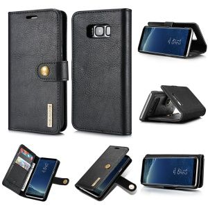 DG.MING Detachable 2 in 1 Split Leather Wallet Phone Cover for Samsung Galaxy S8 Plus G955 - Black