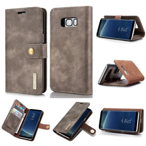 DG.MING Detachable 2 in 1 Wallet Split Leather Mobile Shell for Samsung Galaxy S8 Plus G955 - Coffee