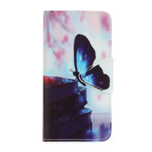 Pattern Printing Cross Texture Leather Wallet Case for Samsung Galaxy J5 (2016) SM-J510 - Butterfly Pattern