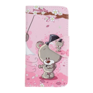 Pattern Printing Cross Texture Wallet Leather Stand Cover for Samsung Galaxy J5 (2016) SM-J510 - Adorable Bear