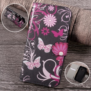 Patterned Leather Wallet Stand Mobile Phone Case for Samsung Galaxy Xcover 4 G390F - Floral Butterflies