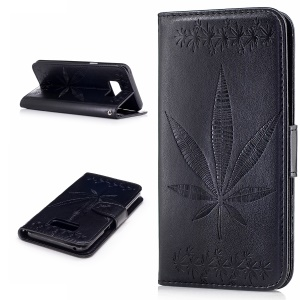 Imprint Maple Leaves Wallet Leather Stand Case for Samsung Galaxy S8 G950 - Black