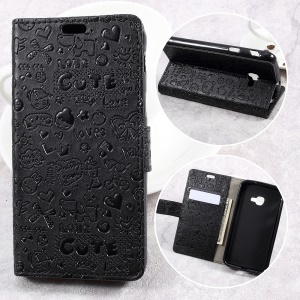 Cartoon Graffiti Leather Wallet Stand Phone Case para Samsung Galaxy Xcover 4 SM-G390F - negro