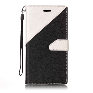 Contrast Color Stand Leather Wallet Sand-like Grain  Flip Case for Samsung Galaxy A7 (2017) - White