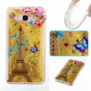 Floating Flash Sequins Pattern Printing TPU Mobile Phone Shell for Samsung Galaxy J7 (2016) J710 - Eiffel Tower