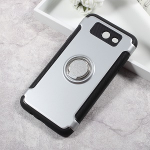 Armor Magnetic Ring Holder TPU PC Back Cover for Samsung Galaxy J3 Emerge/J3 Prime/J3 (2017) - Silver