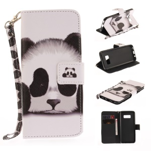 Pattern Printing Leather Wallet Case for Samsung Galaxy S8 SM-G950 - Adorable Panda