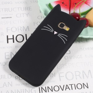 Cute 3D Moustache Cat Soft Silicone Retour Case pour Samsung Galaxy A5(2017) - Noir