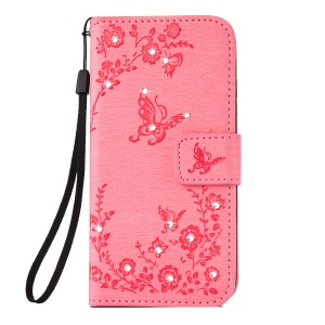 For Samsung Galaxy S8 SM-G950 Imprinted Butterfly Flowers Bling Decor Stand Leather Flip Case with Lanyard - Pink