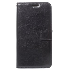 Crazy Horse Wallet Leather Stand Cover for Samsung Galaxy Xcover 4s / Xcover 4 - Black
