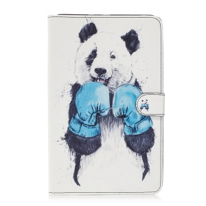 For Samsung Galaxy Tab E 9.6 T560 Pattern Printing Leather Wallet Protective Cover - Panda Boxing