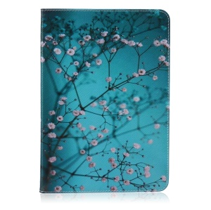 Pattern Printing Leather Wallet Tablet Shell for Samsung Galaxy Tab A 9.7 T550 T555 - Tree with Flowers