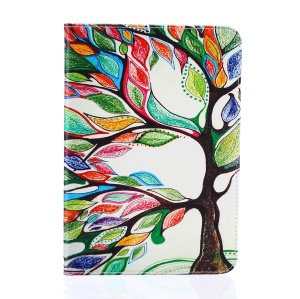 Pattern Printing Leather Wallet Flip Case for Samsung Galaxy Tab S2 8.0 T710 T715 / T719N - Colorized Tree