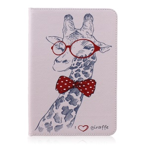 Patterned Wallet Leather Stand Case for Samsung Tab S2 8.0 T710 T715 / T719N - Adorable Giraffe Wearing Glasses