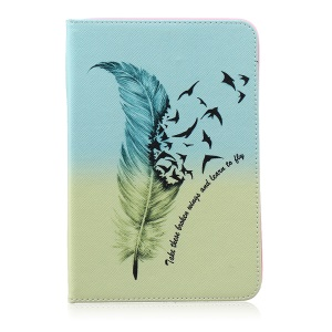 Leather Wallet Patterned Magnetic Case for Samsung Galaxy Tab S2 8.0 T710 T715 / T719N - Feather Pattern