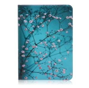 Pattern Printing Foldable Leather Wallet Case Cover for Samsung Galaxy Tab S2 9.7 T810 T815 - Tree with Flowers