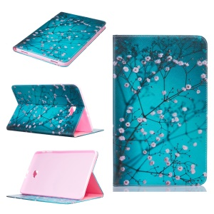 Patterned Leather Wallet Cover for Samsung Galaxy Tab A 10.1 (2016) T580 T585 - Tree with Flowers