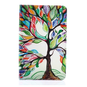 Pattern Printing Leather Wallet Cover With Stand for Samsung Galaxy Tab E 9.6 T560 - Colorized Tree
