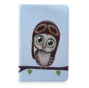 Pattern Printing Leather Wallet Case for Samsung Galaxy Tab E 9.6 T560 - Lovely Owl