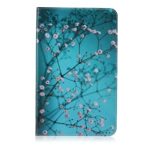 Pattern Printing Leather Wallet Cover With Stand for Samsung Galaxy Tab E 9.6 T560 - Tree with Flowers