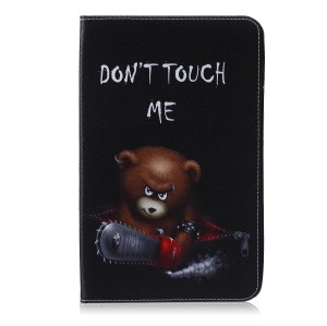 Pattern Printing Leather Wallet Tablet Cover for Samsung Galaxy Tab E 9.6 T560 - Brown Bear and Warning Words