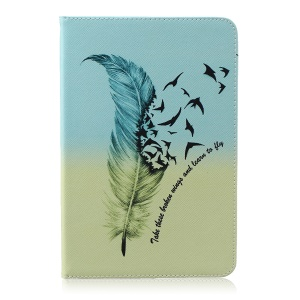Patterned Leather Wallet Cover Accessory for Samsung Galaxy Tab A 8.0 SM-T350 - Feather Pattern