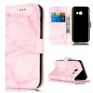 For Samsung Galaxy A5 (2017) SM-A520F Stand Leather Wallet Cover Case - Pink Marble