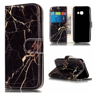 For Samsung Galaxy A5 (2017) SM-A520F Stand Leather Wallet Protector Shell - Black Gold Marble
