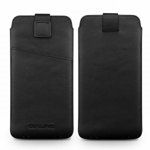QIALINO Universal Genuine Leather Pouch for Samsung Galaxy C7 Pro, Size: 158 x 80mm - Black