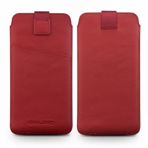 QIALINO Genuine Leather Sleeve Phone Pouch for Samsung Galaxy C7 Pro, Size: 158 x 80mm - Red