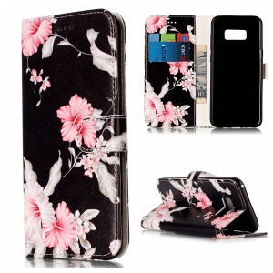 Patterned Leather Wallet Shell with Stand for Samsung Galaxy S8 G950 - Beautiful Flowers