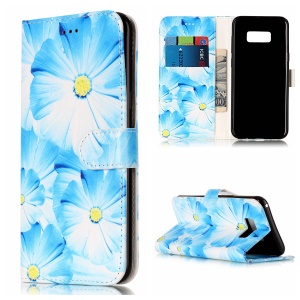 Patterned Leather Wallet Stand Phone Case for Samsung Galaxy S8 G950 - Blue Daisies