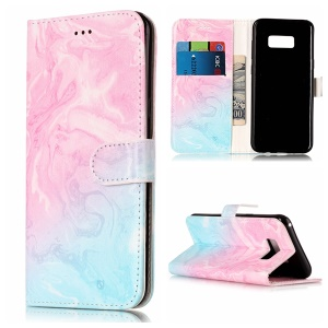 Patterned Leather Wallet Protection Mobile Casing for Samsung Galaxy S8 G950 - Blue and Rose Lava Pattern