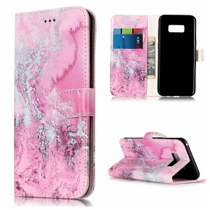 For Samsung Galaxy S8 Plus G955 Pattern Printing Leather Wallet Mobile Phone Shell with Stand - Rose and Grey Lava Pattern